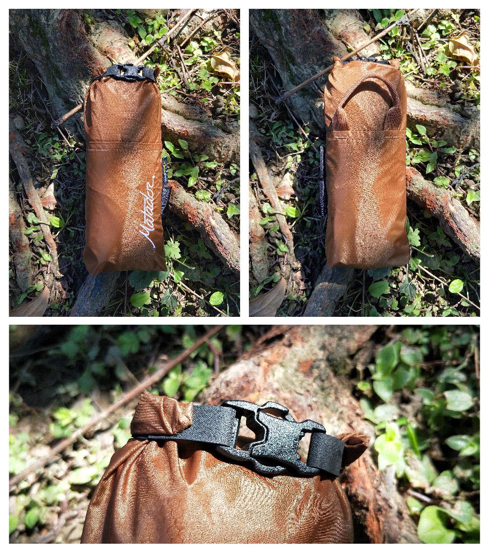 收納後的Free rain 24L 本身也是卷口式設計,防水、自帶掛鉤