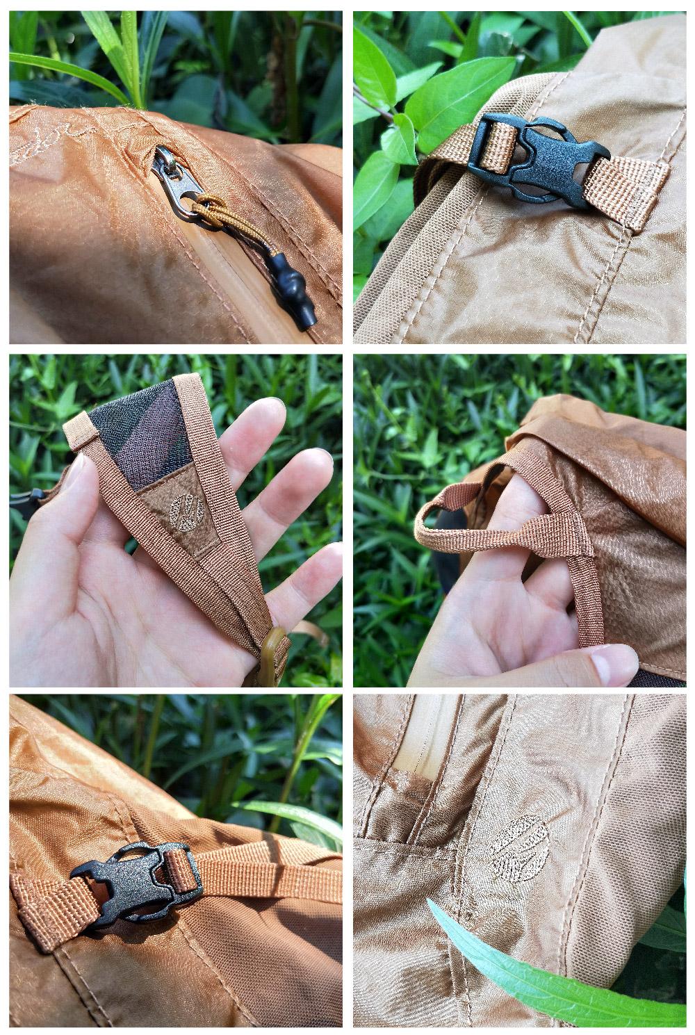 防水拉鍊 / 加固扣件/包包頂部也有手把可以手提/超透氣網型背帶設計